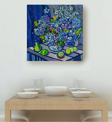 (CreativeWork) Still Life with Hydrangea and Limes by Katerina Apale. #<Filter:0x000056101d15a878>. Shop online at Bluethumb.