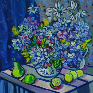 (CreativeWork) Still Life with Hydrangea and Limes by Katerina Apale. arcylic-painting. Shop online at Bluethumb.