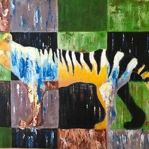 (CreativeWork) Patchwork Thylacine 1 by Matt Williams. arcylic-painting. Shop online at Bluethumb.