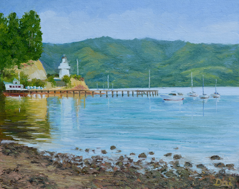 (CreativeWork) Akaroa Yacht Club and Historic Wooden Lighthouse by Dai Wynn. oil-painting. Shop online at Bluethumb.