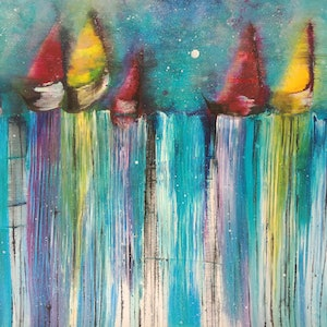 (CreativeWork) Race you to the end of the world and back again by Jacqueline Taylor. arcylic-painting. Shop online at Bluethumb.