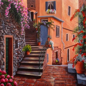 (CreativeWork) The back streets, Vernazza, Cinque terre coast, Italy by Debra Dickson. acrylic-painting. Shop online at Bluethumb.