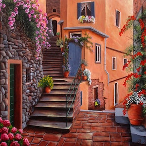 (CreativeWork) The back streets, Vernazza, Cinque terre coast, Italy by Debra Dickson. arcylic-painting. Shop online at Bluethumb.