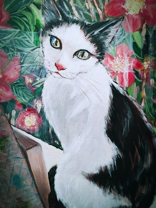(CreativeWork) BY THE WINDOW- Cadbury the cat  by HSIN LIN. Acrylic Paint. Shop online at Bluethumb.