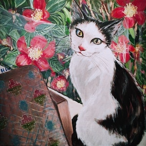 (CreativeWork) BY THE WINDOW- Cadbury the cat  by HSIN LIN. arcylic-painting. Shop online at Bluethumb.