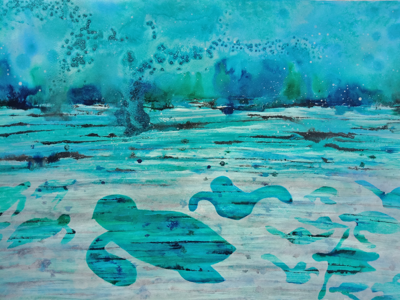 (CreativeWork) Turtle Haven by Jacqueline Taylor. arcylic-painting. Shop online at Bluethumb.