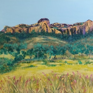 (CreativeWork) Mt Zamia  Minerva Hills National Park  by Liza Black. arcylic-painting. Shop online at Bluethumb.