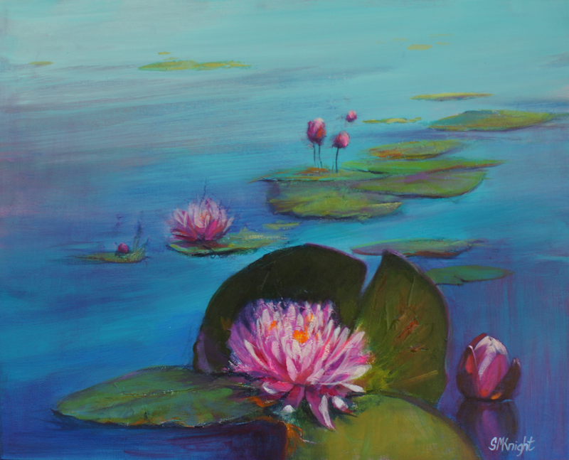 (CreativeWork) LILY POND REFLECTIONS (Framed) by Sandra Michele Knight. arcylic-painting. Shop online at Bluethumb.