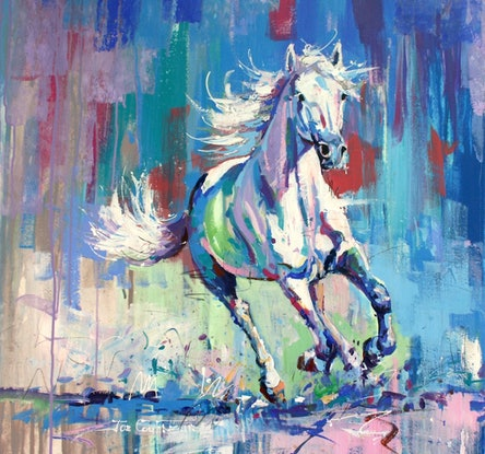 (CreativeWork) White Horse by Jos Coufreur. #<Filter:0x00005572716c0de8>. Shop online at Bluethumb.
