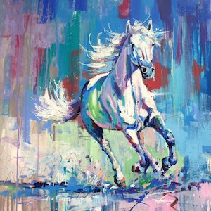 (CreativeWork) White Horse by Jos Coufreur. arcylic-painting. Shop online at Bluethumb.
