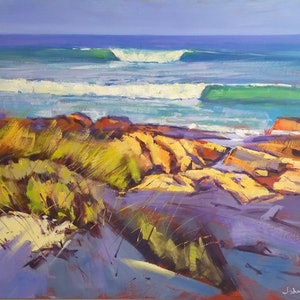 (CreativeWork) Morning Wave by John Pearson. oil-painting. Shop online at Bluethumb.