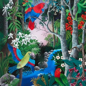(CreativeWork) TROPICAL PARROTS by Johanna Hildebrandt. arcylic-painting. Shop online at Bluethumb.