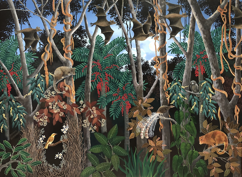 (CreativeWork) DUSK IN THE FOREST by Johanna Hildebrandt. Acrylic Paint. Shop online at Bluethumb.