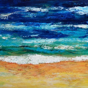 (CreativeWork) Australia -Girt By Sea   by Glenise Clelland. oil-painting. Shop online at Bluethumb.