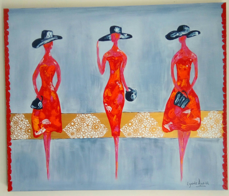 (CreativeWork) Girlfriends Day Out by Lynne Astill. arcylic-painting. Shop online at Bluethumb.
