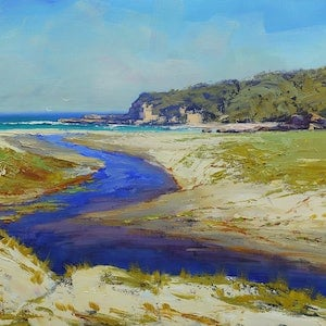 (CreativeWork) Coastal inlet , Frazer Beach by Graham Gercken. oil-painting. Shop online at Bluethumb.