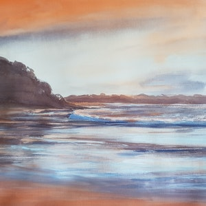 (CreativeWork)  Morning Light Narrawallee Beach by Anica Amphlett. watercolour. Shop online at Bluethumb.
