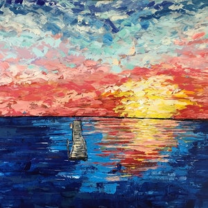 (CreativeWork) Sunset at the Old Jetty by Maggie Deall. arcylic-painting. Shop online at Bluethumb.