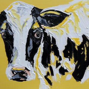 (CreativeWork) How Now Yellow Cow????  by Lisa Fahey. arcylic-painting. Shop online at Bluethumb.