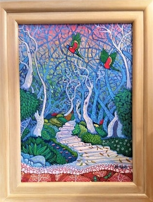 """(CreativeWork) ''ENCHANTED FOREST"""" by Robert Den Ronden. Acrylic Paint. Shop online at Bluethumb."""