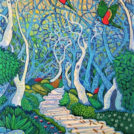 "(CreativeWork) ''ENCHANTED FOREST"" by Robert Den Ronden. Acrylic Paint. Shop online at Bluethumb."