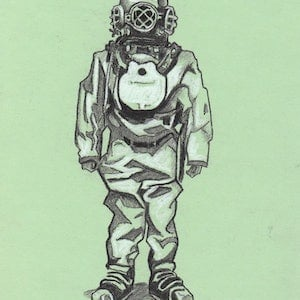 (CreativeWork) Diver (sketch) by Ross Morgan. #<Filter:0x00007f3c24536030>. Shop online at Bluethumb.