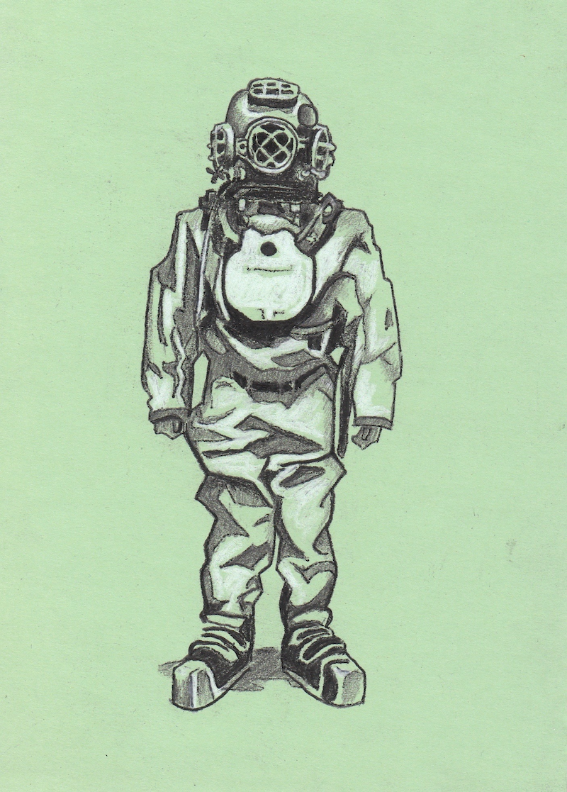 (CreativeWork) Diver (sketch) by Ross Morgan. Drawings. Shop online at Bluethumb.