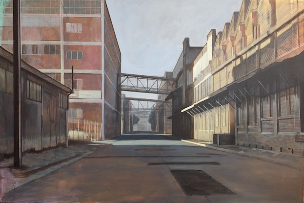(CreativeWork) Crozier St, Port Adelaide by Ross Morgan. Acrylic Paint. Shop online at Bluethumb.