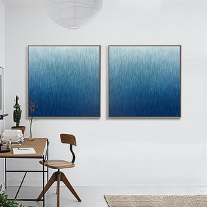 (CreativeWork) 'The Twin Silent Night'  2 Framed paintings  both 104cm square in Walnut Floating Frame  by George Hall. arcylic-painting. Shop online at Bluethumb.