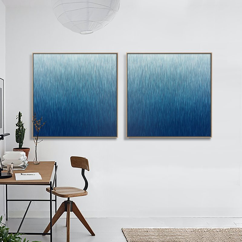 (CreativeWork) 'The Twin Silent Night'  2 Framed paintings  both 104cm square in Walnut Floating Frame  by George Hall. acrylic-painting. Shop online at Bluethumb.