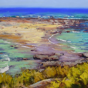 (CreativeWork) Rocks and surf Norah Head by Graham Gercken. oil-painting. Shop online at Bluethumb.
