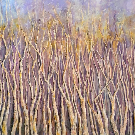 (CreativeWork) Winter Trees by Virginia Rose Kiernan. Acrylic Paint. Shop online at Bluethumb.