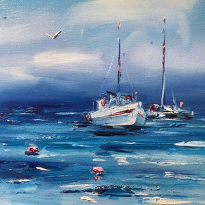 (CreativeWork) Boats by Jo Meredith. oil-painting. Shop online at Bluethumb.
