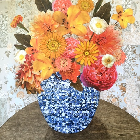 (CreativeWork) Summer flowers in blue vase by Jenn Bell. Mixed Media. Shop online at Bluethumb.