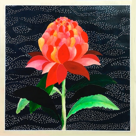 (CreativeWork) Waratah flower  by Jenn Bell. Mixed Media. Shop online at Bluethumb.