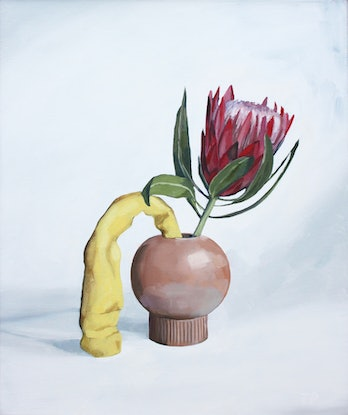 (CreativeWork) Still life with protea and yellow play dough by Tom Parsons. Oil Paint. Shop online at Bluethumb.