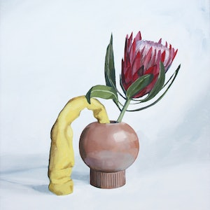 (CreativeWork) Still life with protea and yellow play dough by Tom Parsons. oil-painting. Shop online at Bluethumb.