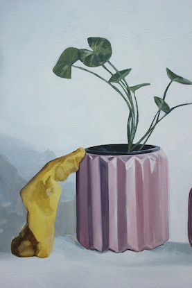 (CreativeWork) Still life with pink vessels and play dough by Tom Parsons. Oil Paint. Shop online at Bluethumb.