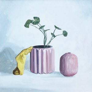 (CreativeWork) Still life with pink vessels and play dough by Tom Parsons. oil-painting. Shop online at Bluethumb.