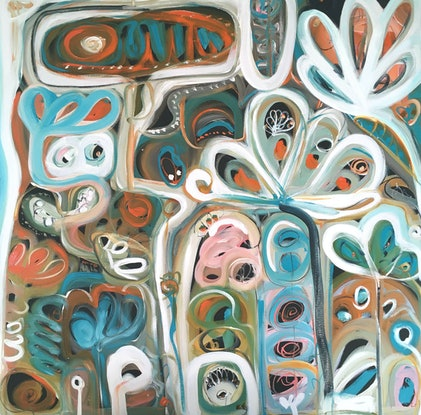 (CreativeWork) Garden of Life by Sarah Morrow. Acrylic Paint. Shop online at Bluethumb.
