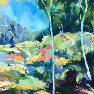 (CreativeWork) Down the Wombat Hole by Nicole Foxall. oil-painting. Shop online at Bluethumb.