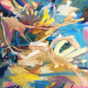 (CreativeWork) Flow by Nicole Foxall. oil-painting. Shop online at Bluethumb.
