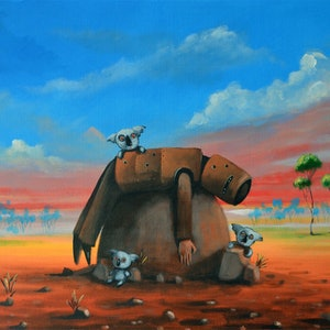(CreativeWork) Ned Kelly and angry koalas by Max Horst  Sokolowski. arcylic-painting. Shop online at Bluethumb.