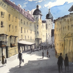 (CreativeWork) St Gallen Ii by Bernd Rieve. watercolour. Shop online at Bluethumb.
