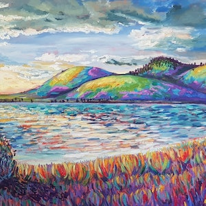 (CreativeWork) Sunset Bay Tasmania  by Krysten Taprell. oil-painting. Shop online at Bluethumb.