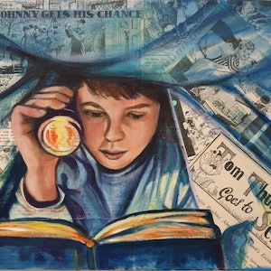 (CreativeWork) Under Cover Book Lover 2 by Sherry McCourt. mixed-media. Shop online at Bluethumb.