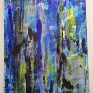 (CreativeWork) Walking in the rain by Green Valley. mixed-media. Shop online at Bluethumb.