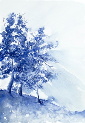 (CreativeWork) Aussie Bush at Daybreak by Rebecca Phillips. Watercolour Paint. Shop online at Bluethumb.