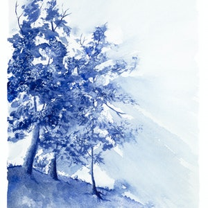 (CreativeWork) Aussie Bush at Daybreak by Rebecca Phillips. watercolour. Shop online at Bluethumb.