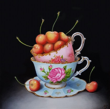 (CreativeWork) White Cherries and vintage teacups - Still life oil painting by Natasha Junmanee. Oil Paint. Shop online at Bluethumb.